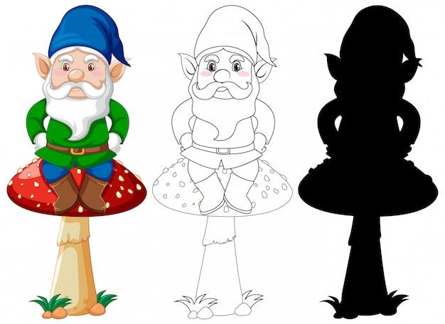 Gnomo sentado sobre un hongo en color y contorno y silueta en personaje de dibujos animados sobre fondo blanco.