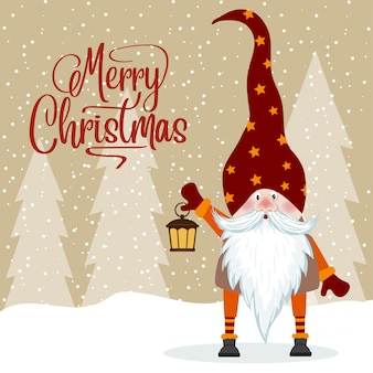 Gnomo y su linterna. tarjeta de navidad. diseño plano.