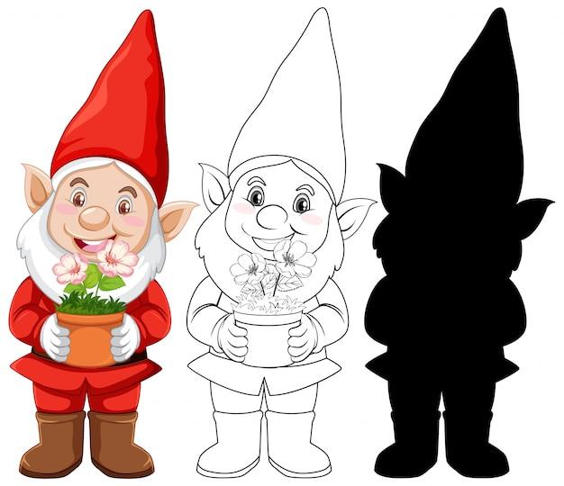 Gnomo en traje de santa en color y contorno y silueta en personaje de dibujos animados sobre fondo blanco.