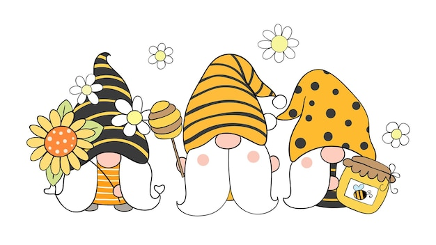 Gnomos de abeja para primavera estilo de dibujos animados