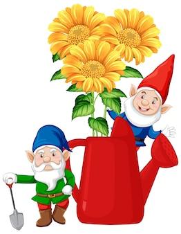 Gnomos con flores dentro de regadera en personaje de dibujos animados sobre fondo blanco.