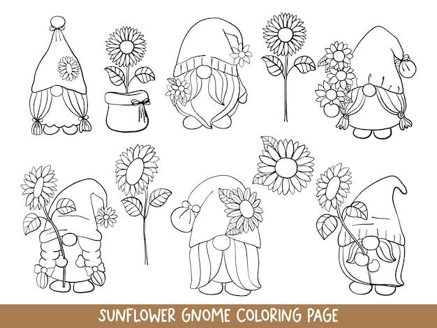 Gnomos de girasol doodle gnomo de girasol página para colorear