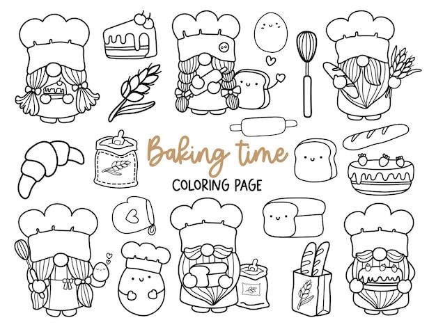 Gnomos de panadero doodle gnomo de cocina página para colorear