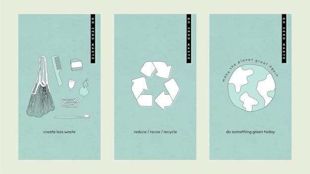 Go zero waste conjunto de plantillas de historias de redes sociales
