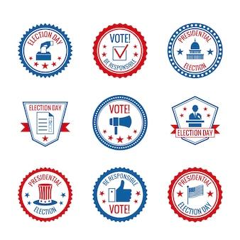 Gobierno, presidencial, elecciones, y, voto, etiquetas, conjunto, con, capitol, edificio, persona, símbolos, aislado, vector