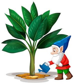Goblin riego árbol posición en personaje de dibujos animados sobre fondo blanco.