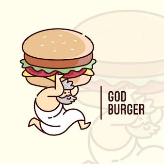 God atlas apoya un logotipo de dibujos animados de hamburguesa grande para empresas culinarias