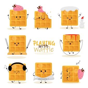 Gofre fresa vainilla miel helado galleta grano nieve jugar auriculares ilustración mascota