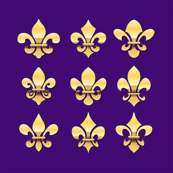 Gold fleur de lis o royal lily symbol collection