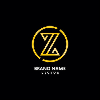 Gold monogram z letter logo design