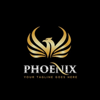 Gold phoenix logo design