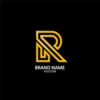 Gold r symbol logo template vector