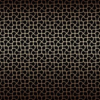 Golden art deco lineal de patrones sin fisuras con flores estilizadas, colores negro y dorado.