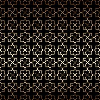 Golden art deco de patrones sin fisuras, colores negro y dorado.