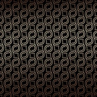 Golden art deco de patrones sin fisuras con remolinos, colores negro y dorado.