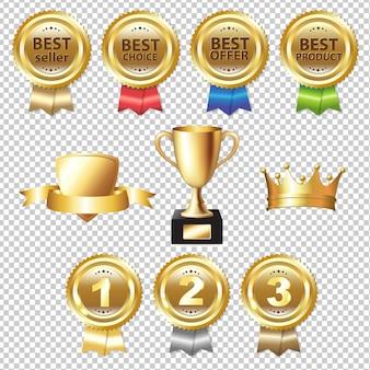 Golden awards gradient mesh, ilustración
