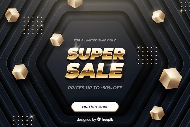 Golden banner promocionando ofertas de ventas