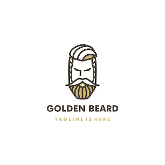 Golden beard barber shop pomade logo vector