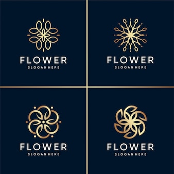 Golden beauty flower logo collection, salud, spa, belleza, moderno, abstracto, flor, único