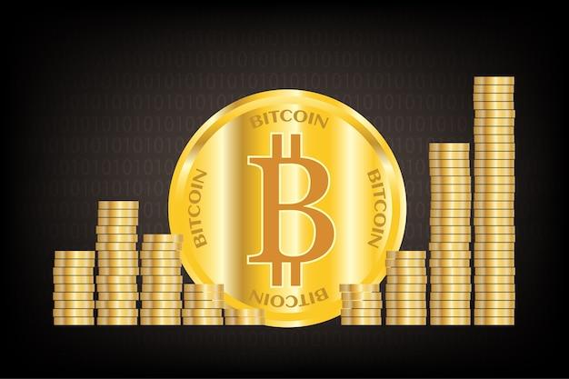 Golden bitcoin filas criptomonedas sobre fondo negro.