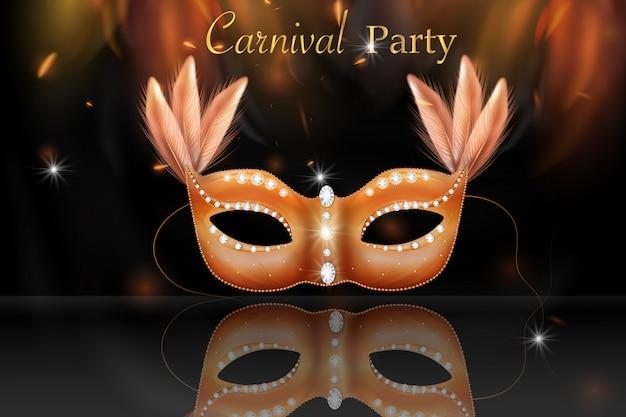 Golden carnival mask, masquerade, mardi gras. carnaval brillante diseño de letras, invitación de carnaval.