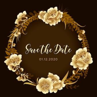 Golden cherry blossom save the date floral background, orchid flowers invite, festival de primavera