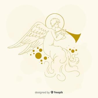 Golden christmas angel estilo dibujado a mano