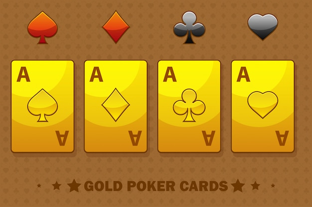 Golden four ace poker naipes.