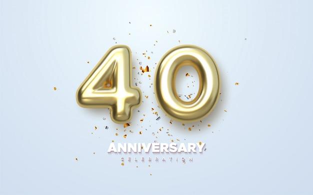 Golden golden 40 aniversario, logotipo minimalista. 40 aniversario, tarjeta de felicitación.