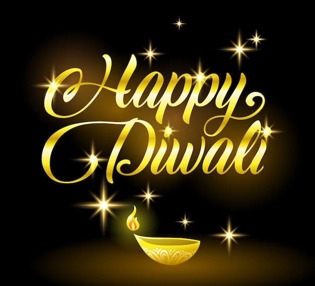 Golden happy diwali felicitación con estrellas en negro