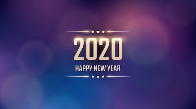 Golden happy new year 2020 con bokeh abstracto y patrón de destello de lente en fondo de color azul vintage