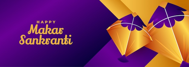 Golden kites makar sankranti diseño de banner morado