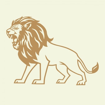Golden lion roar vector logo