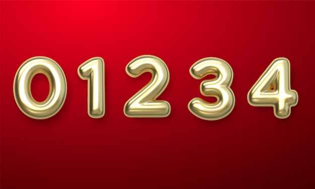 Golden number balloons 0 a 4. globos de aluminio y látex. globos de helio. fiesta, cumpleaños, celebrar aniversario y boda