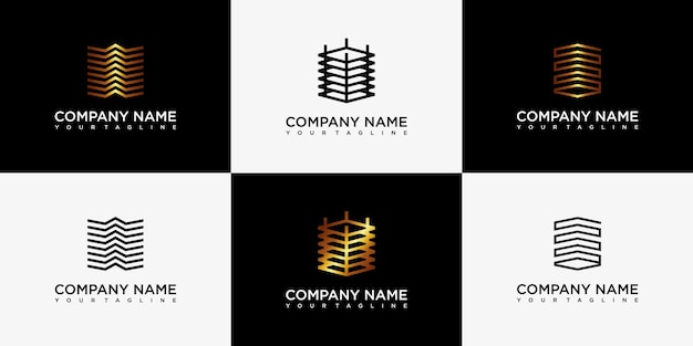 Golden set inspiración de logotipo de edificio minimalista con arte lineal conceptual.