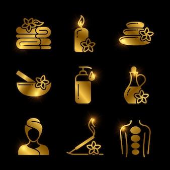 Golden spa, masajes, relajantes iconos vectoriales de conjunto