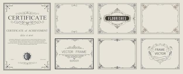 Golden vintage vector set elementos florales