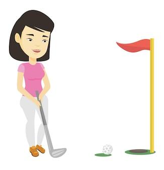 Golfista golpeando la ilustración de la bola.