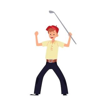 Un golfista hombre se regocija en la victoria y levantó las manos con un palo o un club. golfista de dibujos animados o ilustración de jugador de golf.