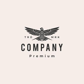 Golondrina pájaro rugido mosca hipster vintage logo plantilla