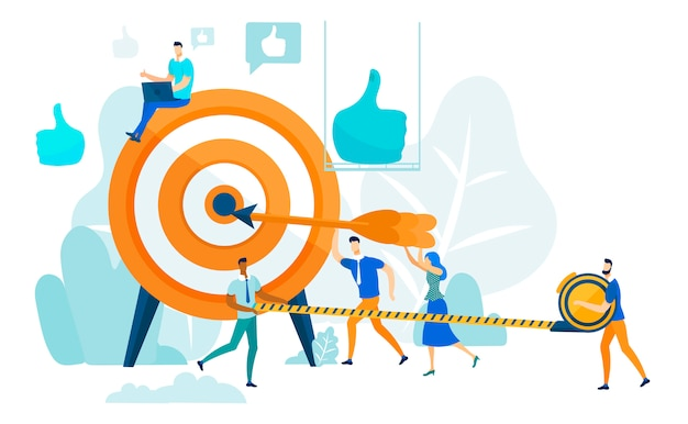 Golpeando objetivo, liderazgo y concepto de trabajo en equipo.
