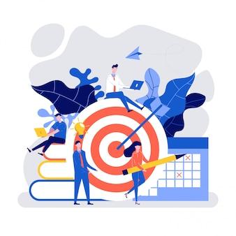 Golpee el objetivo con una flecha, las personas que trabajan juntas para lograr el objetivo comercial.