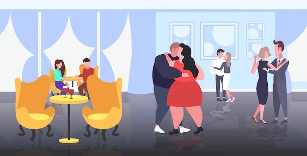 Gordo obeso pareja bailando juntos sobrepeso hombre mujer abrazando pérdida de peso obesidad concepto moderno restaurante interior