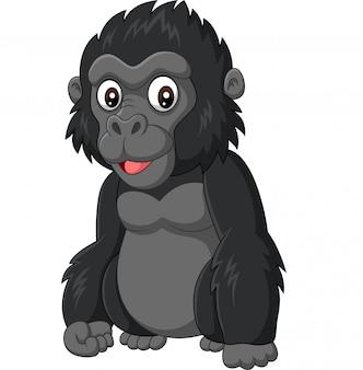 Gorila bebé de dibujos animados sobre fondo blanco