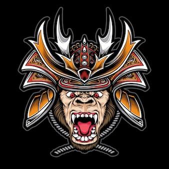 Gorila con casco de samurai