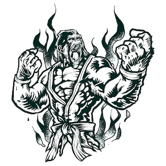 Gorila de combate jiu-jitsu monocromo
