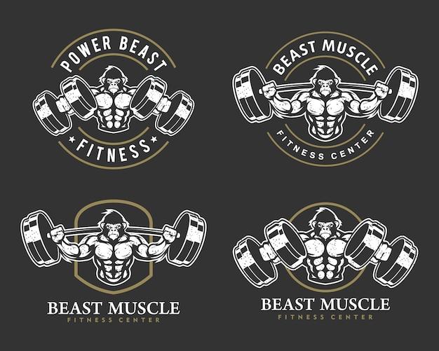Gorila con cuerpo fuerte, club de fitness o logotipo de gimnasio.