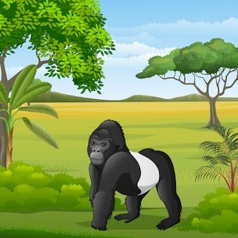 Gorila de dibujos animados en la sabana