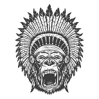 Gorila enojado en estilo monocromo
