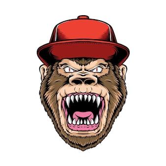 Gorila enojado con gorras aislado en blanco